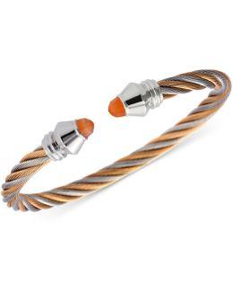 Women's Fabulous Orange Moonstone Two-tone Pvd Stainless Steel Cable Bangle Bracelet 04-921-1219-1m