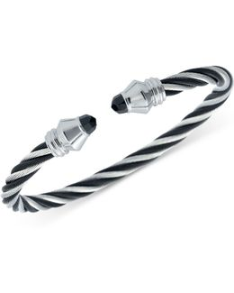Women's Fabulous Black Spinel Two-tone Pvd Stainless Steel Cable Bangle Bracelet 04-721-1219-1m