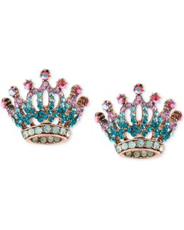 Rose Gold-tone Pavé Crystal Crown Stud Earrings
