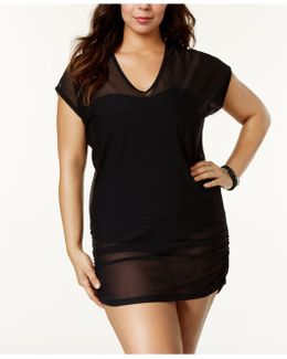 Plus Size Mesh V-neck Cover-up