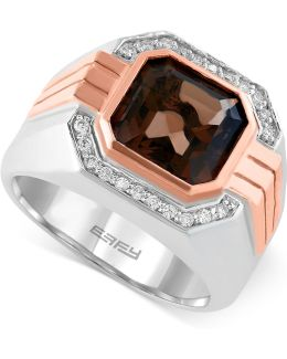 Smoky Quartz (3-7/8 Ct. T.w.) And Diamond (1/6 Ct. T.w.) Ring In 14k Rose And White Gold