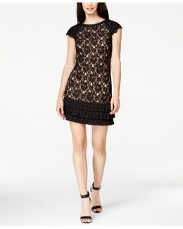 Dress, Cap-sleeve Lace Pleated Tiered