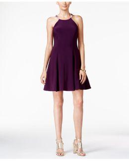 Embellished Halter Fit & Flare Dress