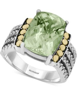 Green Amethyst (5-3/4 Ct. T.w.) Ring In 18k Gold And Sterling Silver