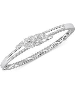 Diamond Twist Bangle Bracelet (1 Ct. T.w.) In Sterling Silver