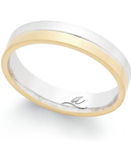 Two-tone Band In 18k Gold And White Gold