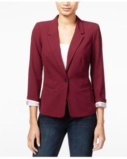 Notched-collar One-button Blazer
