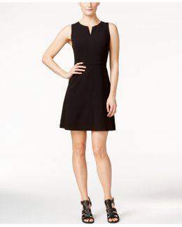 Sleeveless Split-neck A-line Dress