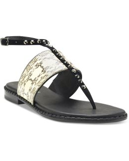 Snake-print Studded Thong Sandals