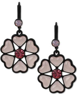 Black-tone Heart Flower Drop Earrings