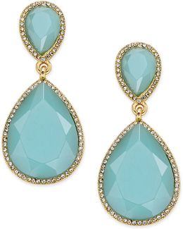 Gold-tone Blue Stone And Pavé Drop Earrings