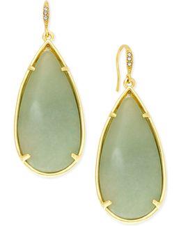 Gold-tone Large Green Stone Teardrop Earrings
