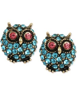 Pavé Owl Stud Earrings