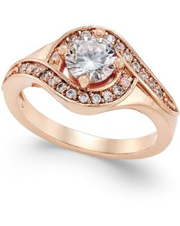 Rose Gold-tone Crystal Solitaire Twist Ring