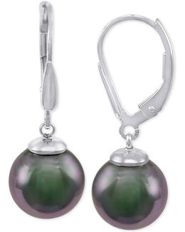 Sterling Silver Black Imitation Pearl (10mm) Drop Earrings