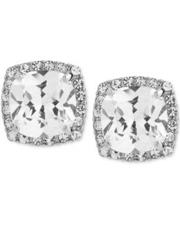Silver-tone Square Crystal And Pavé Stud Earrings