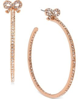 Rose Gold-tone Crystal Bow Hoop Earrings