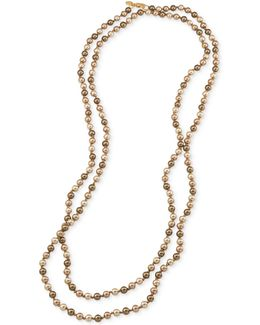 Gold-tone Gray Imitation Pearl Long Length Necklace