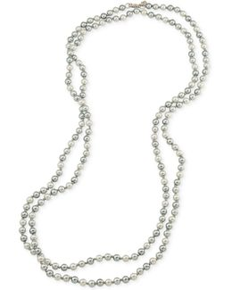 Silver-tone Gray Imitation Pearl Long Length Necklace