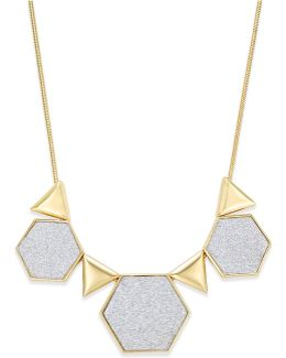 Gold-tone Glitter Geometric Collar Necklace