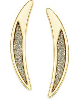 Gold-tone Crescent Glitter Drop Earrings