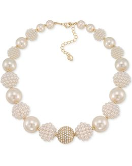 Gold-tone Imitation Pearl And Fireball Collar Necklace