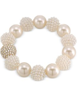 Gold-tone Imitation Pearl And Fireball Stretch Bracelet