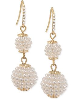 Gold-tone Imitation Seed Pearl Double Drop Earrings
