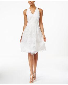 V-neck Lace Fit & Flare Midi Dress