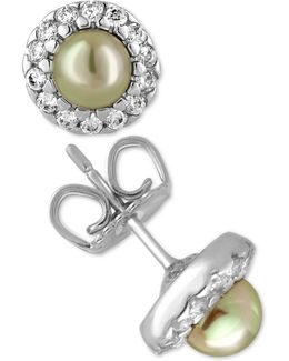 Sterling Silver Imitation Pearl And Crystal Halo Stud Earrings