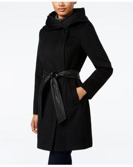 Faux-leather-trim Shawl-collar Asymmetrical Coat