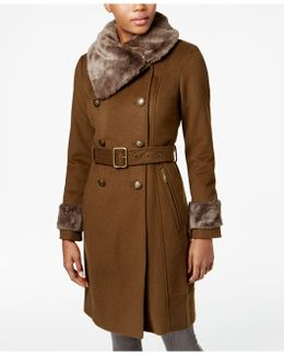 Double-breasted Faux-fur-collar Walker Coat