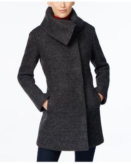 Envelope-collar Textured Walker Coat
