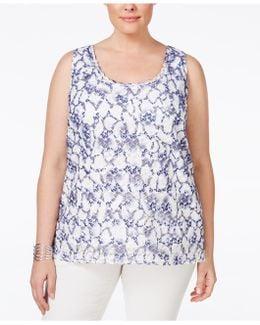 Plus Size Sleeveless Printed Lace Blouse