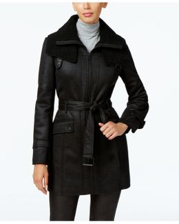 Faux-shearling Trench Coat