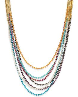 Gold-tone 7-row Beaded Necklace