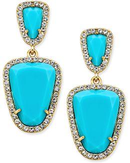 Gold-tone Blue Stone Double-drop Earrings