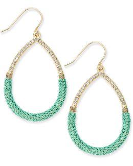 Gold-tone Teal Wire-wrapped Teardrop Earrings