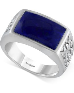 Men's Lapis Lazuli Ring (3-9/10 Ct. T.w.) In Sterling Silver