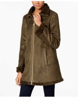 Faux-shearling A-line Walker Coat