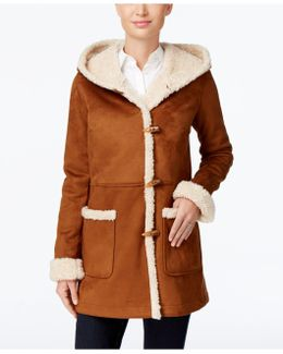 Hooded Faux-shearling Toggle Coat