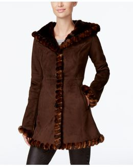 Faux-fur-trim Faux-suede Walker Coat