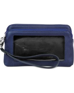 Tech Double Zip Wristlet With Rfid