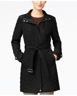 Faux-leather Trim Belted Quilted Coat