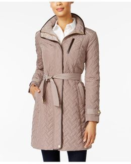 Faux-leather Trim Quilted Walker Coat