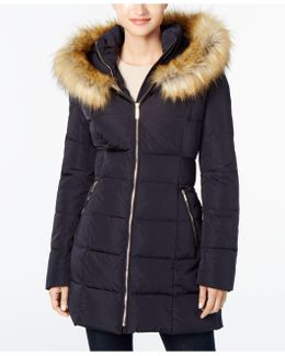 Faux-fur Cinched-waist Puffer Coat