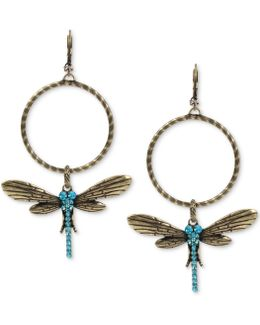Gold-tone Blue Crystal Dragonfly Gypsy Hoop Earrings