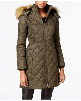 Faux-fur-trim Knit-side Quilted Coat