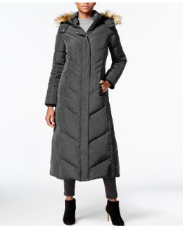 Faux-fur-collar Hooded Down Maxi Coat