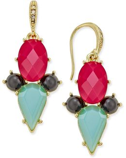 Gold-tone Multi Crystal Drop Earrings